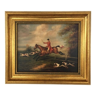 Framed Fox Hunting Painting For Sale