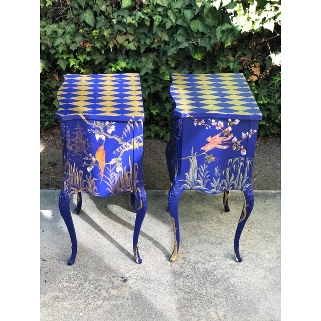 1930s Hand Painted Chinoiserie Nightstands with Birds - a Pair For Sale - Image 11 of 13