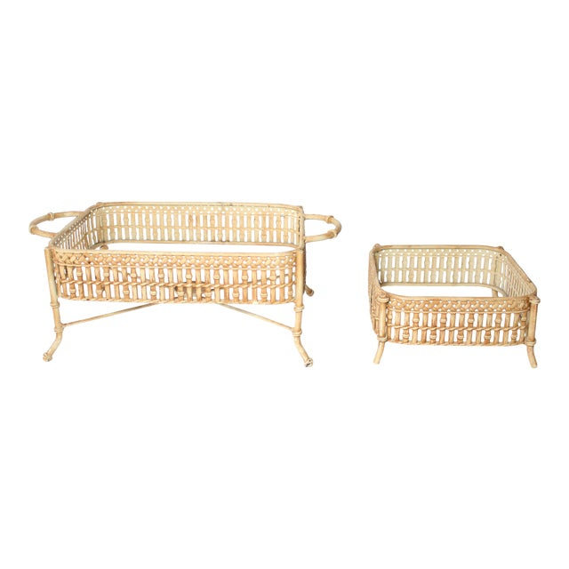 Vintage Faux Bamboo Chafing Dishes - Set of 2 For Sale
