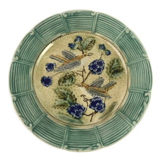 French Majolica Bird Plate For Sale