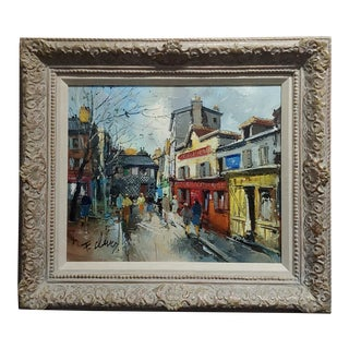 Fernand Claver -Paris, Place Du Tertre à Montmartre-Oil Painting C.1959 For Sale