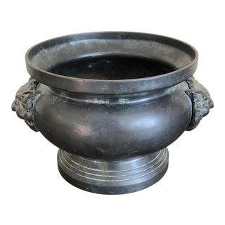 Maitland Smith Bronze Foo Dog Handle Bowl For Sale