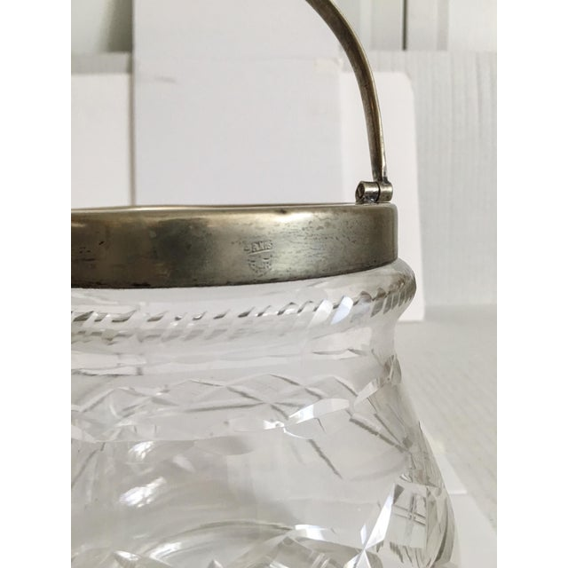 1930s Slack and Barlow English Cut-Glass and Silver Biscuit Jar For Sale - Image 10 of 11