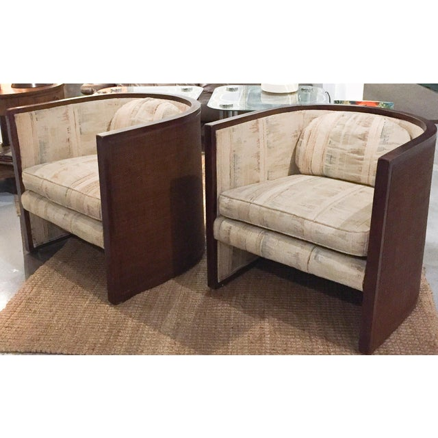 Baughman Style Mid-Century Caned Lounge Chairs- A Pair - Image 3 of 9