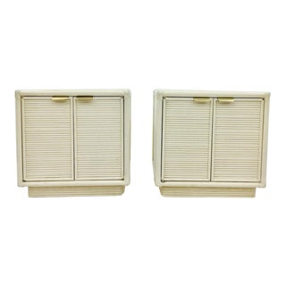 Vintage Rattan & Brass Side Table Chests - A Pair For Sale