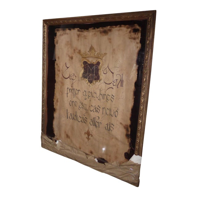 "Large 60""x47"" Shadow Box Wall Mantle Picture Framed on Canvas Pirate Latin Saying - Image 1 of 10"