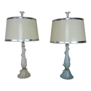 Italian Murano Lamps W / Parchment Shades, Pair For Sale