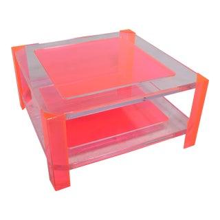 Alexandra Von Furstenberg Pink Acrylic Coffee Table For Sale