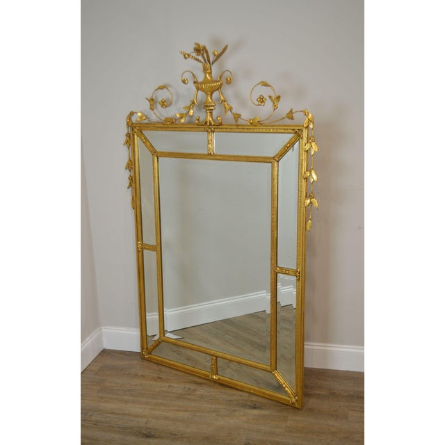 High Quality French Style Wood & Gesso Gilt Frame Beveled Wall Mirror by Friedman Brothers