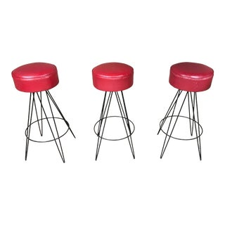 Mid Century Iron Bar Stools - Set of 3 For Sale