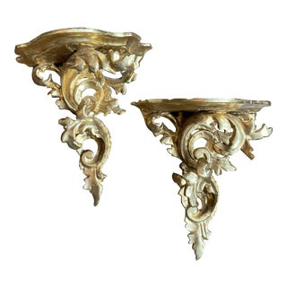 Vintage Italian Carved Giltwood Rococo Style Wall Brackets - a Pair For Sale