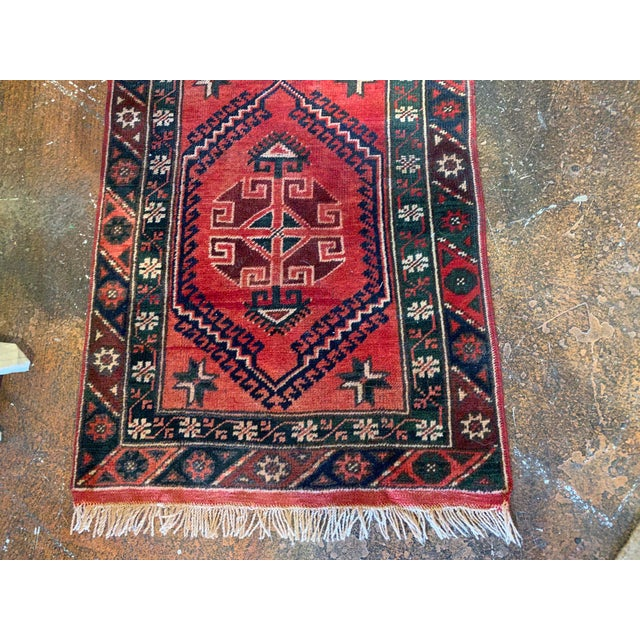 Textile Vintage Distressed Hand-Tied Red Runner For Sale - Image 7 of 13
