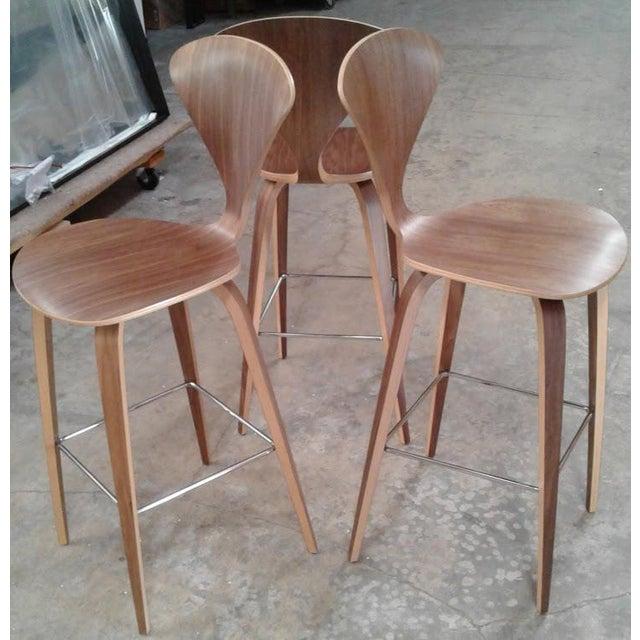 Phenomenal Mid Century Modern Cherner Wood Bar Stools Set Of 3 Cjindustries Chair Design For Home Cjindustriesco