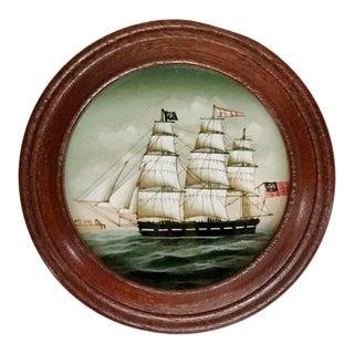 Vintage Round Wood Trinket Box Reverse Painted Glass Schooner British For Sale