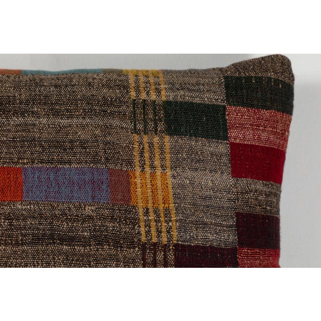 Asian Indian Handwoven Pillow in Japanese Stripe Design For Sale - Image 3 of 6