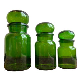 Mid 20th Century Green Belgian Glass Apothecary Jars - Set of 3 For Sale