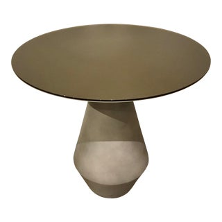 Caracole Modern Concrete and Taupe Frosted Glass Side Table Prototype For Sale