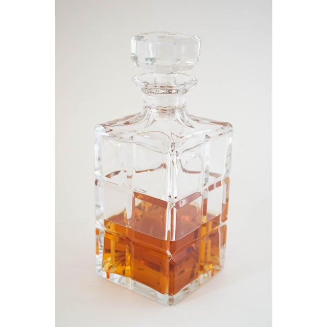 Square Cut Crystal Whiskey Decanter W/Stopper For Sale - Image 9 of 9