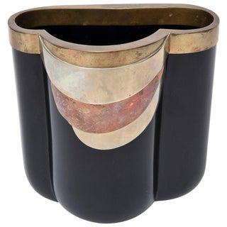 Rare Italian Black Glass, Mixed Metals Antonio Pavia Sculptural Vase For Sale