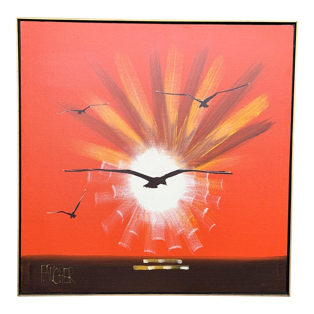 "1970s Vintage Faucher ""On the Wing"" Painting For Sale"