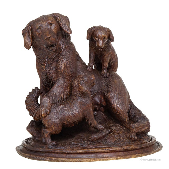 Black Forest Carved Mother Dog With Puppies - Brienz Ca. 1900 For Sale - Image 10 of 10