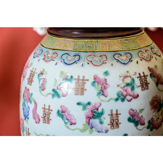 Lovely Asian porcelain table lamp with shade. C.1860