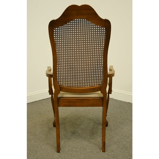 Wood Late 20th Century Vintage Bernhardt Furniture French Provincial Cane Back Dining Arm Chair For Sale - Image 7 of 11