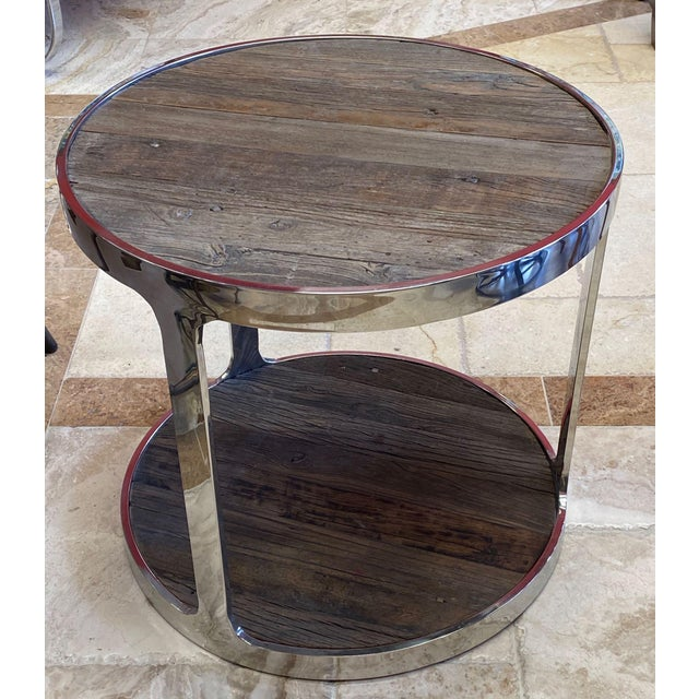 Reclaimed Wood and Polished Chrome Accent Table For Sale - Image 10 of 10