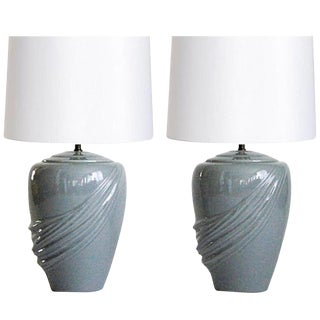 Vintage Draped Gray Lamps - A Pair For Sale