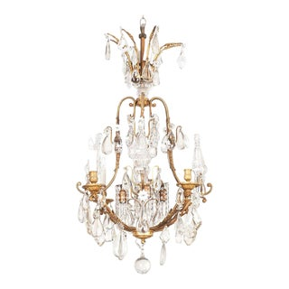 19th Century French Crystal and Brass Rope Chandelier For Sale