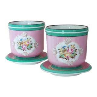 1850 Old Paris Floral Motif Porcelain Cache Pots Planters - a Pair For Sale