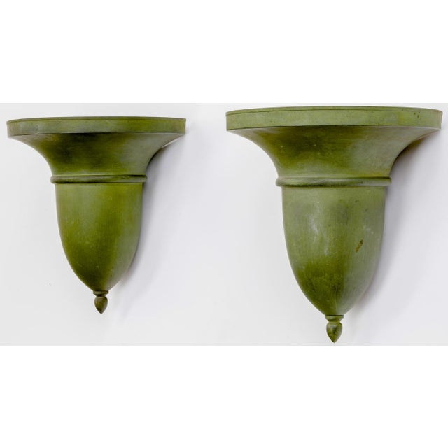 French Neo Classical Refined Tole Sconces With a Green Antique Patina For Sale - Image 4 of 8