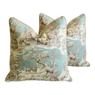 "Woodland Toile Deer & Velvet Feather/Down Pillows 25"" Square - Pair For Sale"