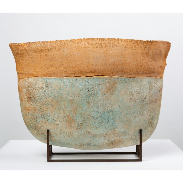 1990s Ceramic Art Vessel With Mount by Jim Kraft For Sale - Image 5 of 12