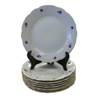 Vintage German Kahla Blue Cornflower Porcelain Salad Plates- Set of 8 For Sale