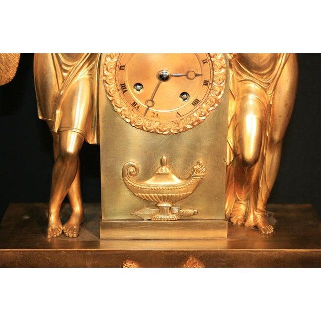 Empire 19th Century French Empire Gilt Dore Bronze Figural Amour & Psyche Mantel Clock For Sale - Image 3 of 7