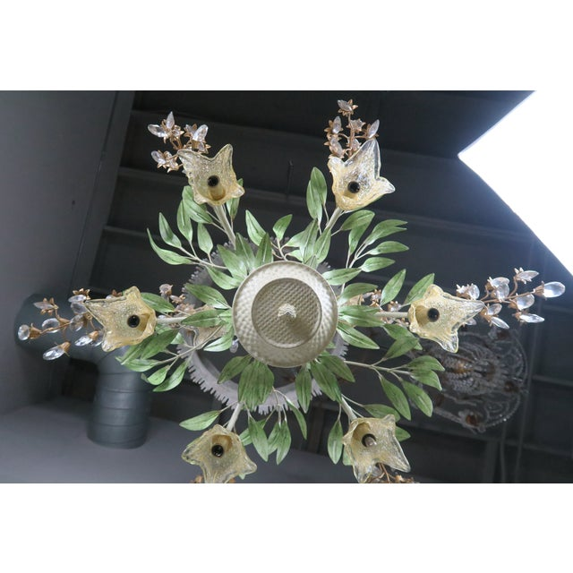 Painted Tole and Murano Glass Chandelier C. 1940's For Sale - Image 9 of 10