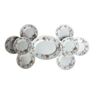 Minton Floral China Plates - Set of 9 For Sale