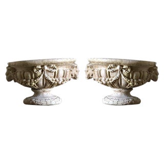 Rams Head Stone Urns - a Pair For Sale