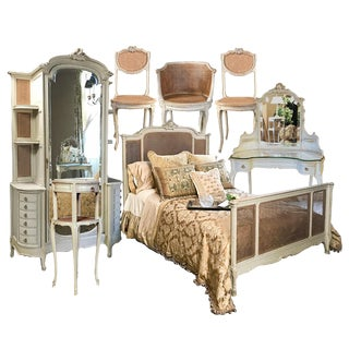 19th Century French Louis XVI Painted 7-Piece Bedroom Suite For Sale