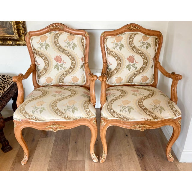 Lewis Mittman French Louis XV Style Arm Chairs - a Pair