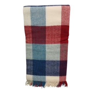 Wool Throw Red Blue White Square Stripes - Made in England For Sale