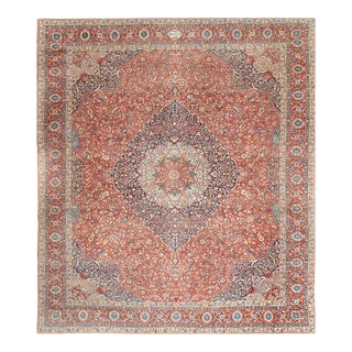 Rust Persian Antique Tabriz 14'6'' X 17'6'' For Sale