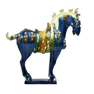 Traditional Chinese Blue Terra Cotta Pottery Horse