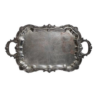 Large 19th Century Silver Plate Footed Serving Tray With Handles For Sale