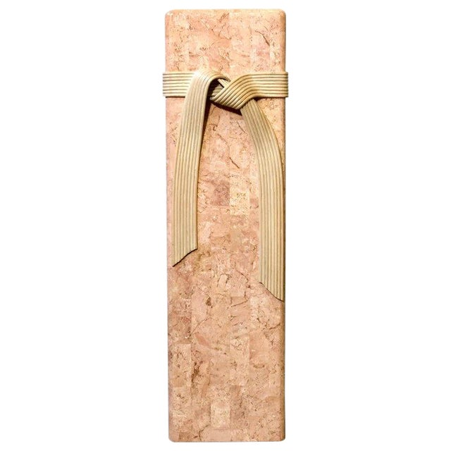 Pink Tessellated Stone Pedestal With Rattan Ribbon Tie For Sale