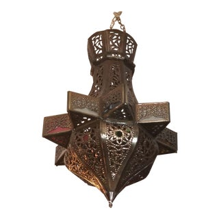 Moroccan Pierced Metal Lantern For Sale