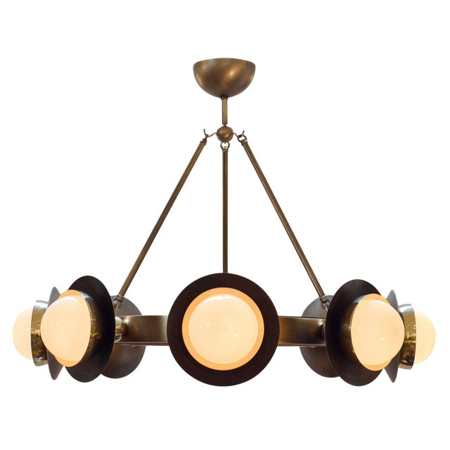 Murano Glass and Bronze Chandelier For Sale