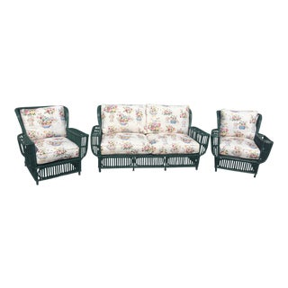 Early 20th Century Split Reed Seating Set- 3 Pieces For Sale