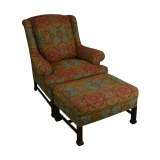 Hickory Chair Chippendale Style Marlborough Leg Lounge Chair & Ottoman - 2 Pieces For Sale